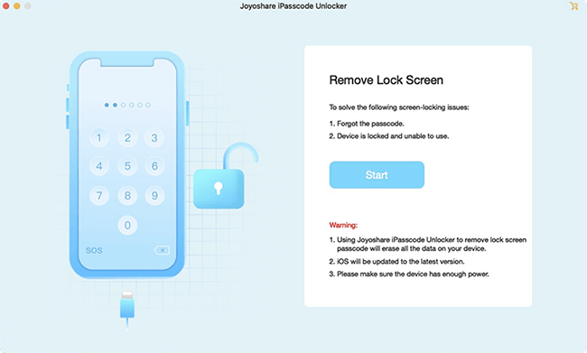 run joyoshare ipasscode unlocker and connect iphone