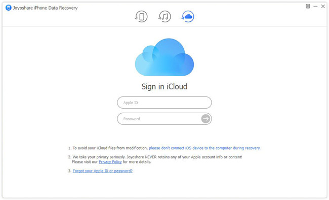 choose to recover from icloud