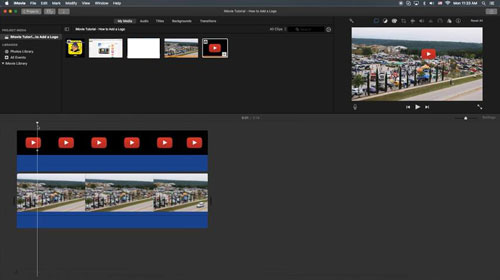 add watermark to video in imovie