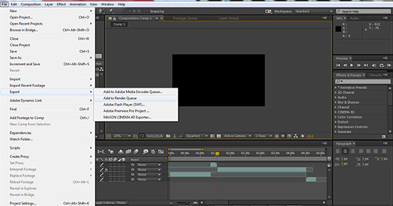 after effects exporting file