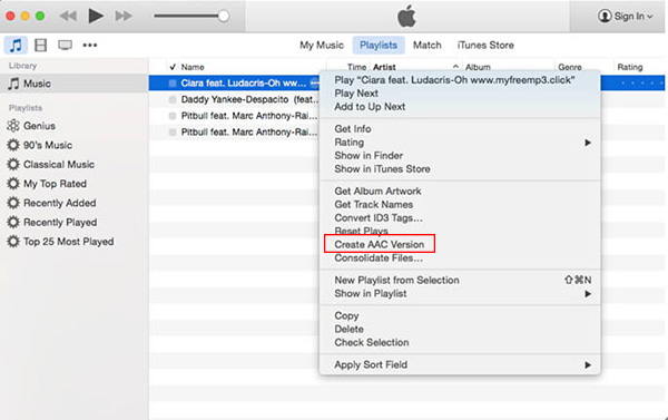 convert mp3 to m4a with itunes