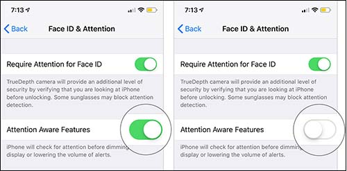 disable attention aware feature on iphone x