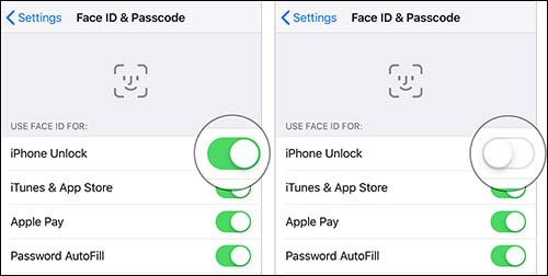 disable face id and re-enable