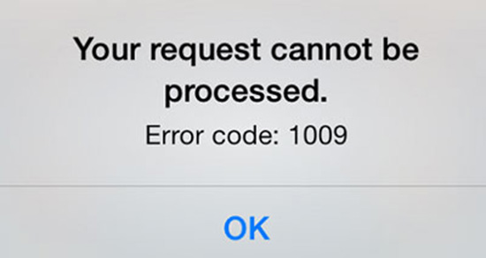 fix iphone error 1009