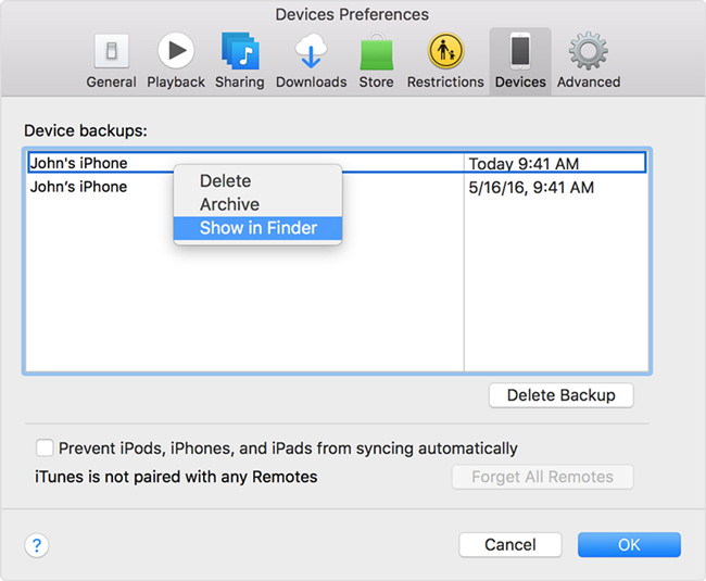find iTunes backup on Mac