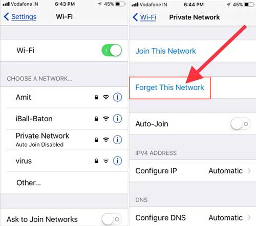 forget wifi network