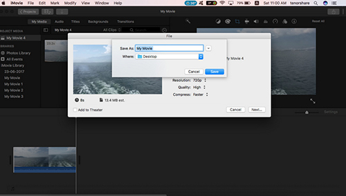 imovie save video