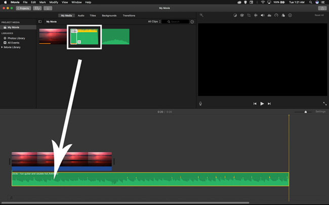 imovie drag audio