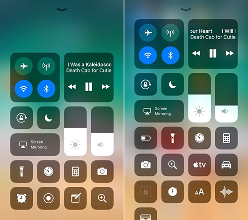 ios 11 control center customized