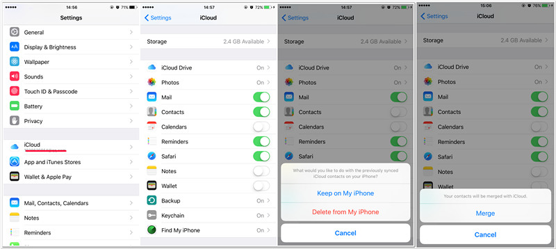 restore contacts from icloud to iphone