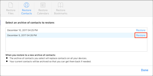 restore contacts on iphone from icloud