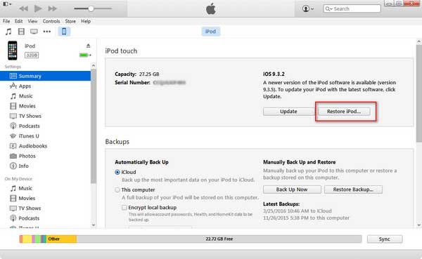 remove ipod touch passcode via itunes