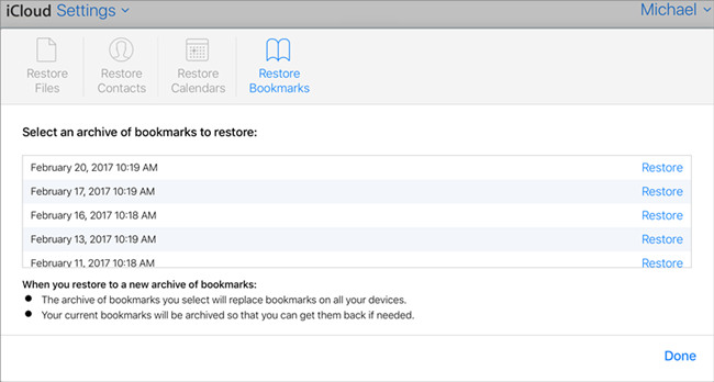 restore safari bookmarks on iphone from icloud