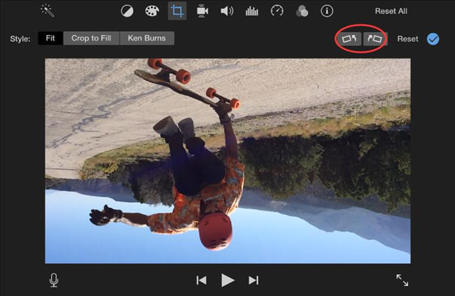 start to rotate video in imovie