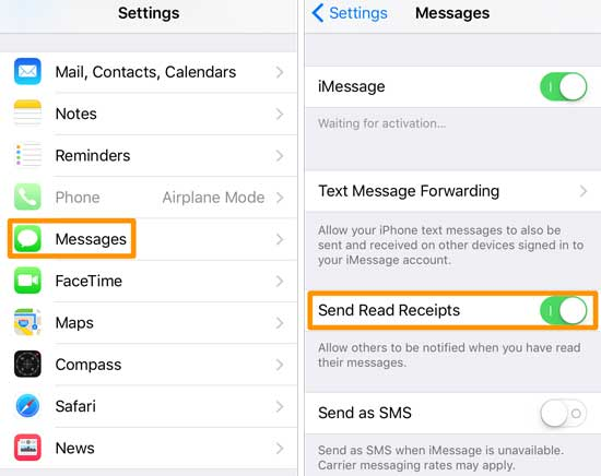 send read receipts iphone