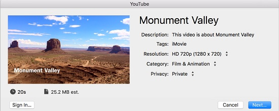 share imovie videos to youtube