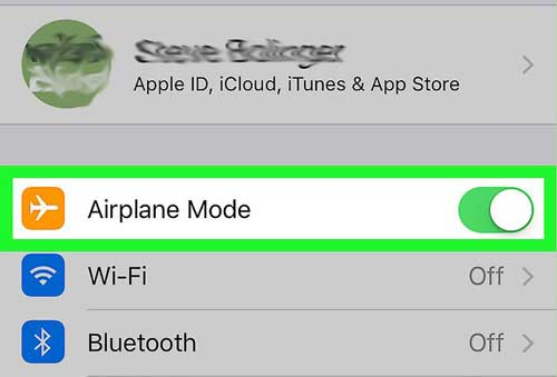 turn on off airplane mode