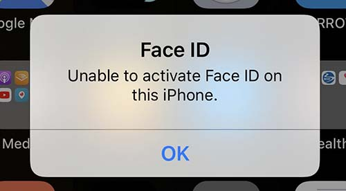 unable to activate face id on this iphone