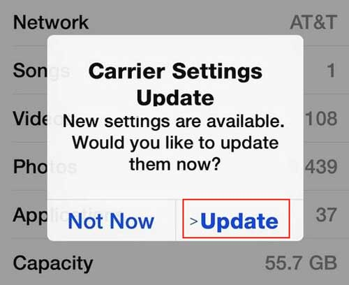 update carrier settings