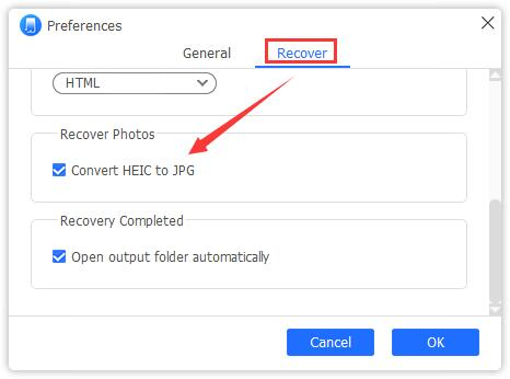 convert heic to jpg preferences